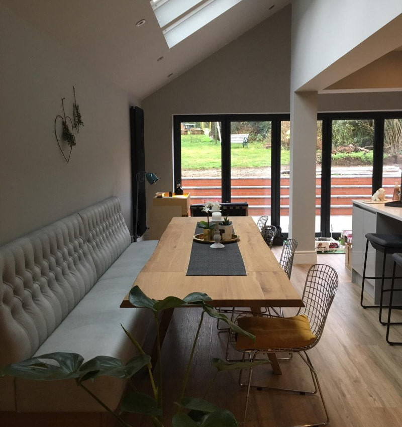 built in seating facing house extension doors
